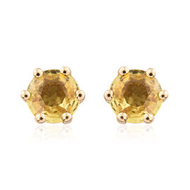 9K Yellow Gold 1 Carat AA Yellow Sapphire (Rnd) Stud Earrings (with Push Back)