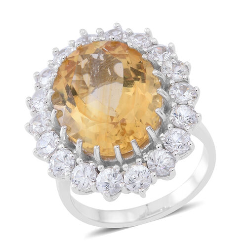 Collectors Edition - Rare AAA Uruguay Citrine (Ovl 16.00 Ct), Natural Cambodian White Zircon Ring in Rhodium Plated Sterling Silver 22.500 Ct.