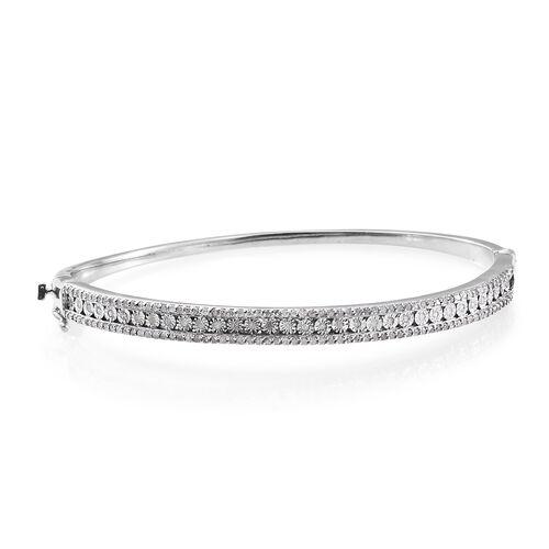 GP Diamond (Rnd), Kanchanaburi Blue Sapphire Bangle (Size 7.5) in Platinum Overlay Sterling Silver 1.000 Ct. Number of Diamonds 163
