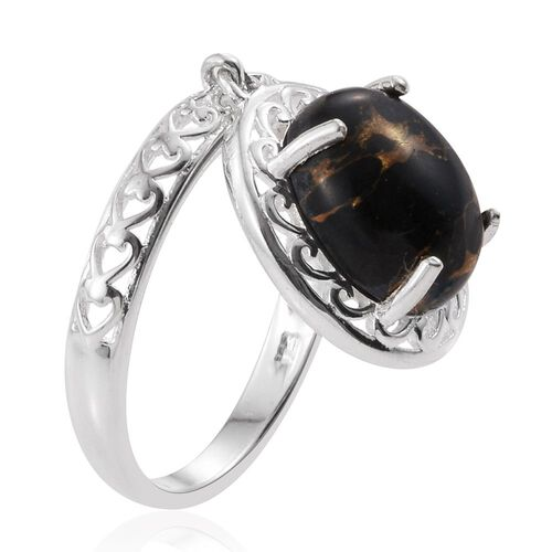 One Time Deal Rare Black Mohave Turquoise (Ovl) Ring in Sterling Silver 4.500 Ct.
