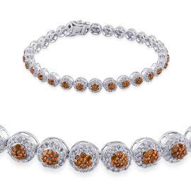 Yellow Diamond (Rnd), White Diamond Bracelet in Platinum Overlay Sterling Silver (Size 7.5) 3.500 Ct.