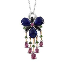 GP Lapis Lazuli (Pear), Boi Ploi Black Spinel, Kanchanaburi Blue Sapphire and Multi Gemstone Pendant with Chain (Size 20) in Platinum and Yellow Gold Overlay Sterling Silver 7.750 Ct.