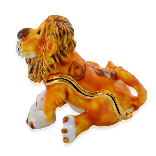 Yellow Colour Enameled Lion Shape Trinket Box in Gold Tone Decorated with Multi Colour Austrian Crystal