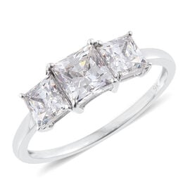 J Francis - 9K W Gold (Princess Cut) 3 Stone Ring Made with SWAROVSKI ZIRCONIA