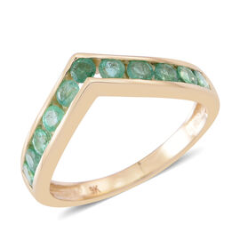 9K Yellow Gold AAA Kagem Zambian Emerald (Rnd) Wishbone Ring 1.000 Ct.