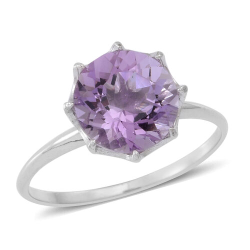 AA Rose De France Amethyst (Rnd) Solitaire Ring in Rhodium Plated Sterling Silver 3.500 Ct.