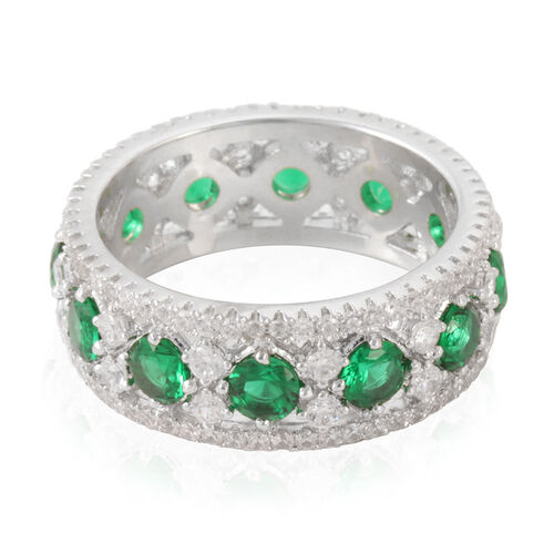 Simulated Emerald (Rnd), Simulated Diamond Ring in Silver Bond