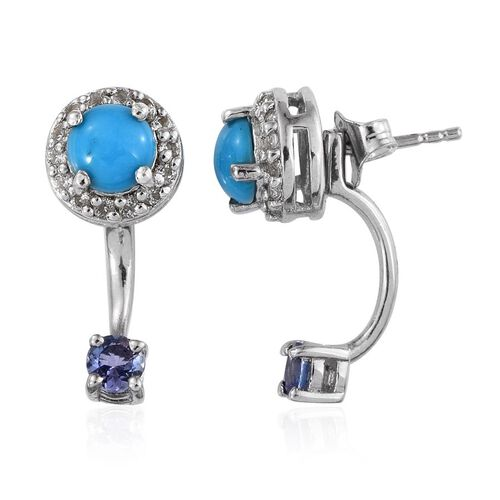 Arizona Sleeping Beauty Turquoise (Rnd), Tanzanite and White Topaz Earrings (with Push Back) in Platinum Overlay Sterling Silver 2.500 Ct.