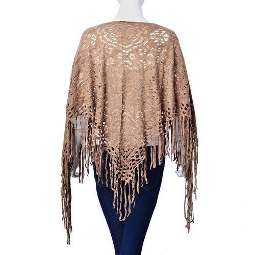 Light Chocolate Colour Floral Pattern Poncho with Tassel (Size 55 Cm)