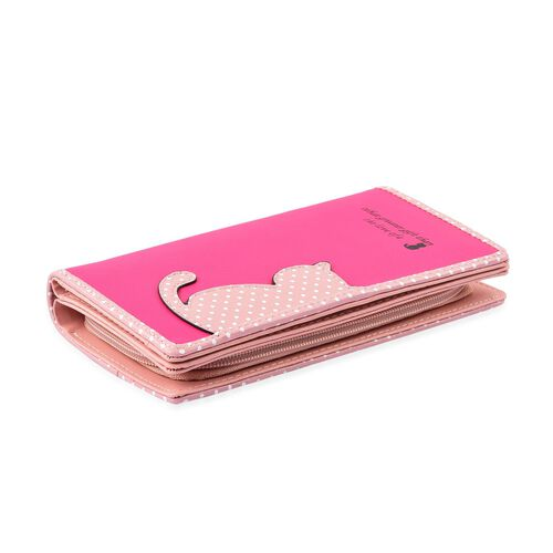Light Pink and Fuchsia Colour Cat Design Ladies Wallet with Cat Charm (Size 19X9X3 Cm)