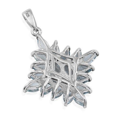 AA Espirito Santo Aquamarine (Ovl) Cluster Pendant in Platinum Overlay Sterling Silver 3.750 Ct.