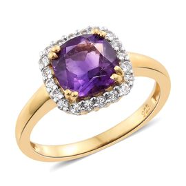 Amethyst (Cush 2.20 Ct), White Topaz Ring in 14K Gold Overlay Sterling Silver 2.500 Ct.