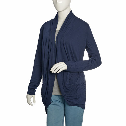 One Time Deal - Navy Colour Waterfall Pattern Cardigan (Free Size)