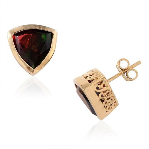 Tourmaline Colour Quartz (Trl) Stud Earrings (with Push Back) in 14K Gold Overlay Sterling Silver 6.750 Ct.
