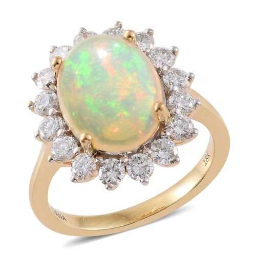 Signature Collection-ILIANA 18K Yellow Gold AAAA Ethiopian Welo Opal (Ovl 3.00 Ct), Diamond (SI/G-H) Ring 4.250 Ct. Gold Wt 5.20 Gms