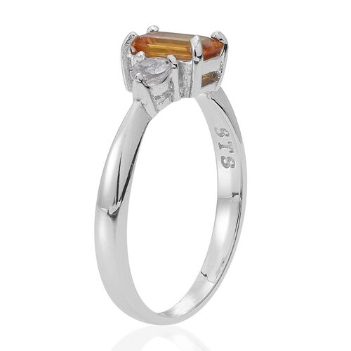Yellow Sapphire (Oct 1.00 Ct), Natural Cambodian Zircon Ring in Rhodium Plated Sterling Silver 1.250 Ct.