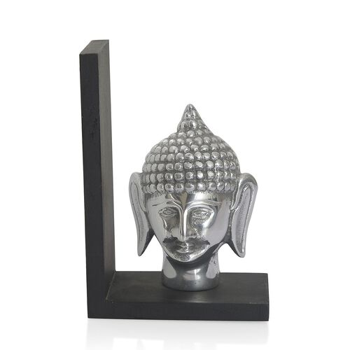 Home Decor - Lord Buddha Aluminium Bookend with Black Wooden Base
