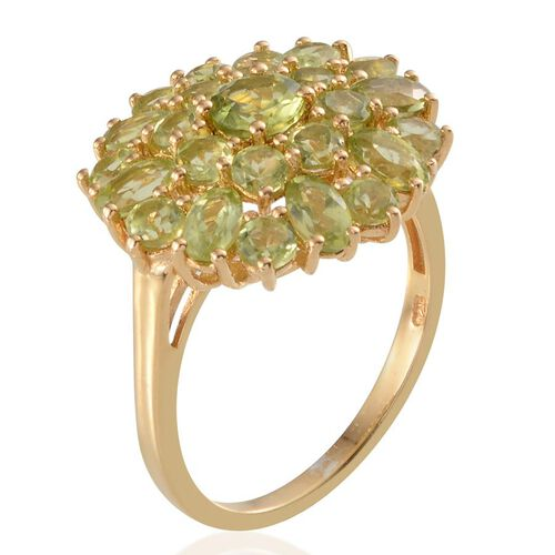 AA Hebei Peridot (Rnd 0.50 Ct) Cluster Ring in 14K Gold Overlay Sterling Silver 4.400 Ct.