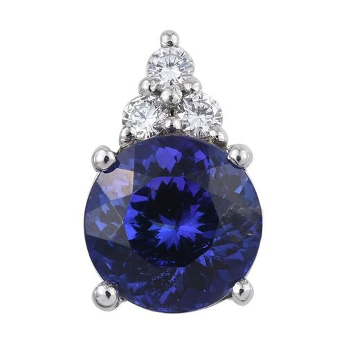 RHAPSODY 950 Platinum AAAA Tanzanite (Rnd 1.90 Ct), Diamond Pendant 2.000 Ct.