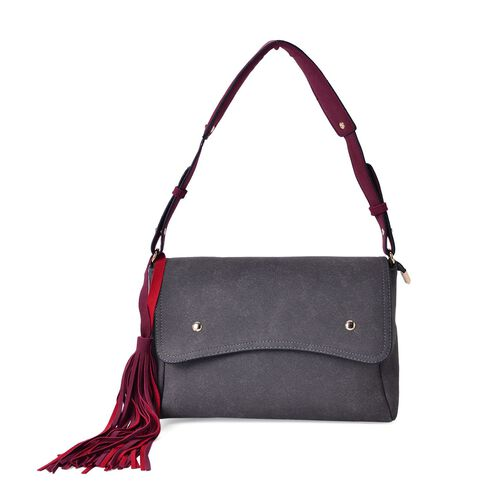 Dark Grey City Shoulder Bag with Burgundy Colour Strap and Long Tassels (Size 28x19x9 Cm)