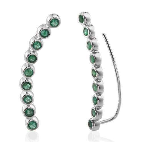 Kagem Zambian Emerald (Rnd) Climber Earrings in Platinum Overlay Sterling Silver 2.000 Ct.