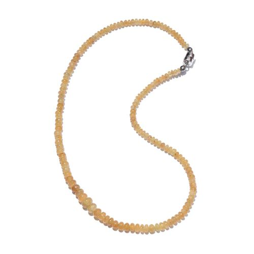 One Time Deal-Rare AAA Brazilian Canary Aquamarine (Rnd) Necklace (Size 18) with Magnetic Clasp in Sterling Silver 93.150 Ct.