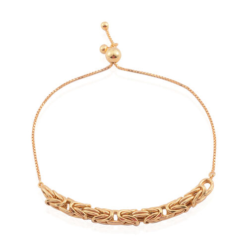 Limited Edition- Vicenza Collection 14K Gold Overlay Sterling Silver Byzantine Adjustable Bracelet (Size 6.5 to 9), Silver wt. 5.60 Gms.