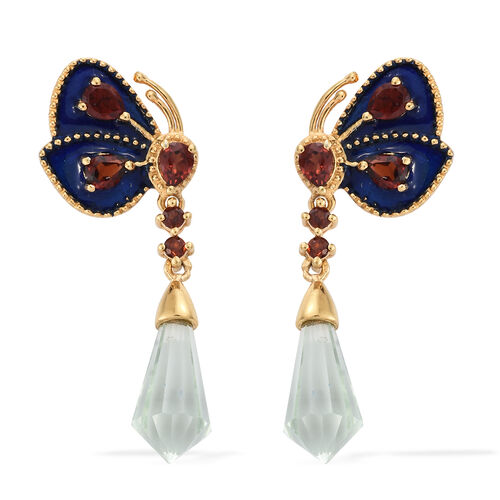 GP Green Amethyst, Mozambique Garnet and Kanchanaburi Blue Sapphire Enameled Butterfly Drop Earrings (with Push Back) in 14K Gold Overlay Sterling Silver 8.000 Ct.