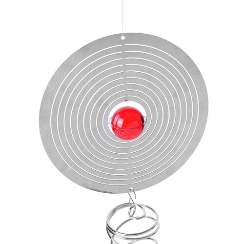 Home Decor - Hanging 3D Wind Spinner With Red and White Balls Inside (Size 33.5x15 Cm)