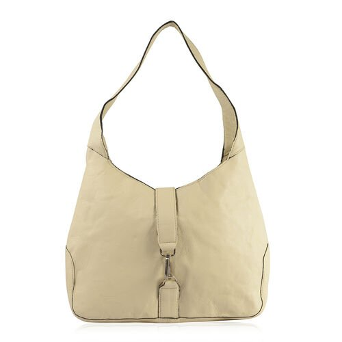 100% Genuine Leather RFID Cream Colour Bag (Size 38X24X8 Cm)