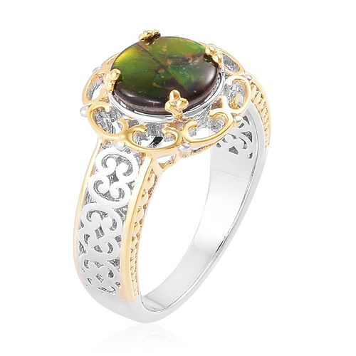 AA Canadian Ammolite (Rnd) Solitaire Ring in Platinum and Yellow Gold Overlay Sterling Silver 2.000 Ct.
