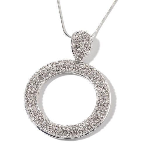 White Austrian Crystal Pendant With Chain in Silver Tone