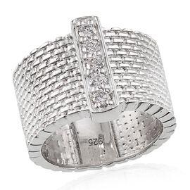 J Francis - Platinum Overlay Sterling Silver (Rnd) 5 Stone Ring Made with SWAROVSKI ZIRCONIA