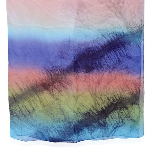 100% Silk Tree Pattern Red, Purple, Green and Blue Colour Scarf (Size 170x110 Cm)