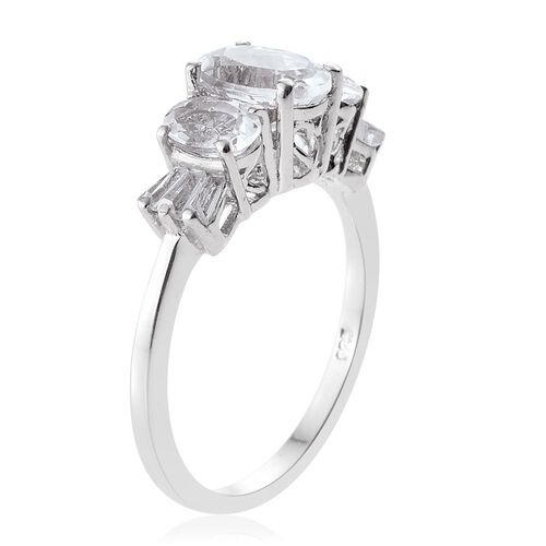 Petalite (Ovl), White Topaz Ring in Platinum Overlay Sterling Silver 2.250 Ct.