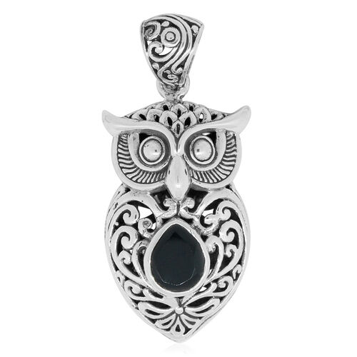 Royal Bali Collection Boi Ploi Black Spinel (Pear) Owl Pendant in Sterling Silver 3.121 Ct. Silver wt. 9.00 Gms.
