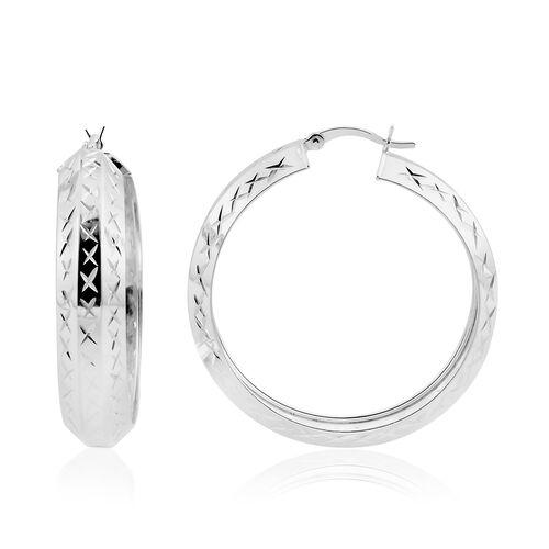 (Option 2) Sterling Silver Diamond Cut Hoop Earrings (with Clasp Lock), Silver wt. 5.80 Gms.