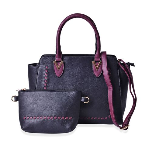 Set of 2 - Black and Burgundy Colour Tote Bag with External Zipper Pocket (Size 30x27x11 Cm) and Crossbody Bag (Size 23x15x5 Cm) and Adjustable and Removable Shoulder Strap