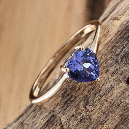 9K Yellow Gold AA 1 Ct Tanzanite Heart Solitaire Ring