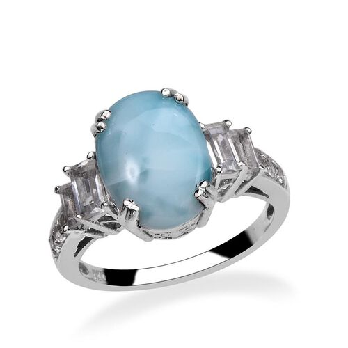 Larimar (Ovl 4.25 Ct), White Topaz Ring in Platinum Overlay Sterling Silver 5.500 Ct.