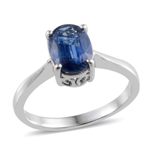Himalayan Kyanite (Ovl) Solitaire Ring in Platinum Overlay Sterling Silver 2.250 Ct.