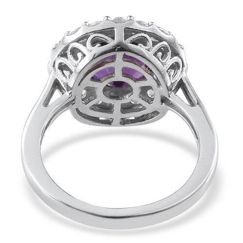 Amethyst (Rnd 2.50 Ct), White Topaz Ring in Platinum Overlay Sterling Silver 3.250 Ct.