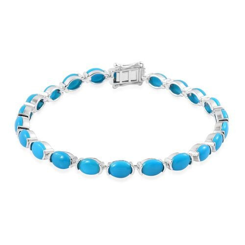 AAA Arizona Sleeping Beauty Turquoise (Ovl) Tennis Bracelet (Size 7.75) in Platinum Overlay Sterling Silver 12.500 Ct.