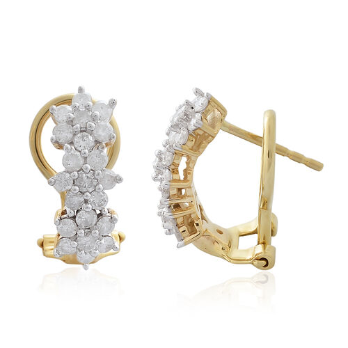 9K Yellow Gold 1 Carat Diamond Floral Earrings SGL Certified (I3/G-H)
