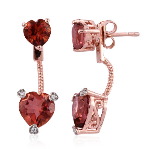 Red Beryl Colour Quartz (Hrt), Natural Cambodian Zircon Jacket Earrings (with Push Back) in Rose Gold Overlay Sterling Silver 2.056 Ct.