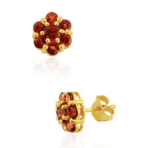 Mozambique Garnet (2.02 Ct) 14K Gold Overlay Sterling Silver Earring  2.015  Ct.