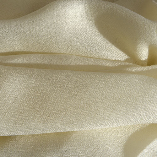 100% Cashmere Wool Cream Colour Scarf with Fringes (Size 200X70 Cm)