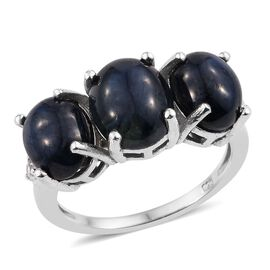 Star Blue Sapphire (Ovl), Natural Cambodian Zircon Ring in Platinum Overlay Sterling Silver 11.000 Ct.