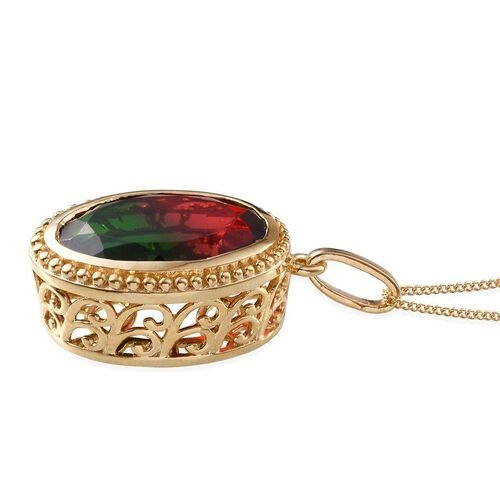 Tourmaline Colour Quartz (Ovl) Pendant With Chain in 14K Gold Overlay Sterling Silver 11.500 Ct.