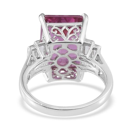 Kunzite Colour Quartz (Oct 13.50 Ct), White Topaz Ring in Platinum Overlay Sterling Silver 14.250 Ct.